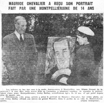 Maurice Chevalier with his portrait by Jenny Batlay